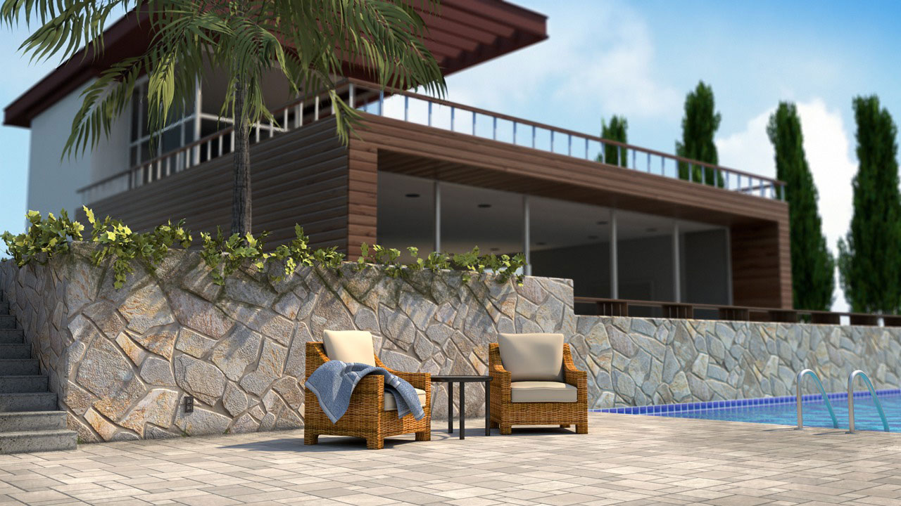 Exterior rendering techniques with mental ray and 3ds max for Exterior 3d rendering
