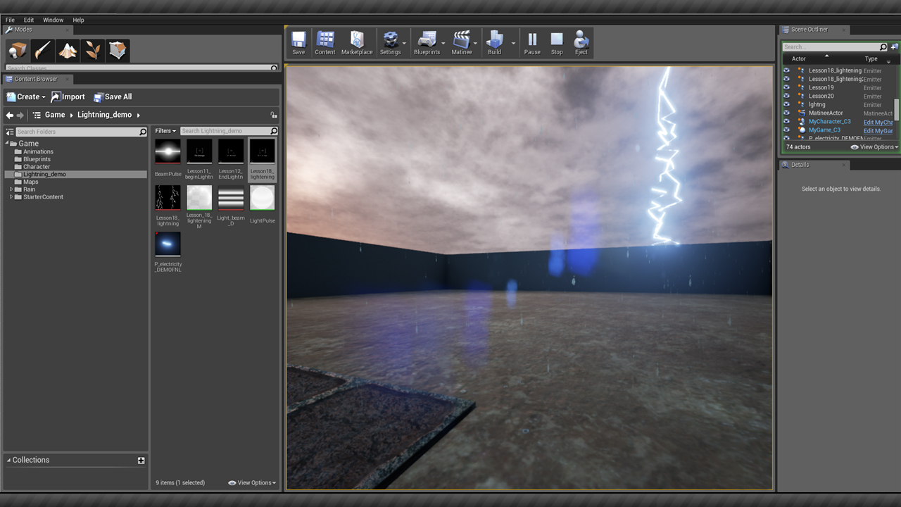 Creating Rain and Lightning Effects in Unreal Engine | Pluralsight