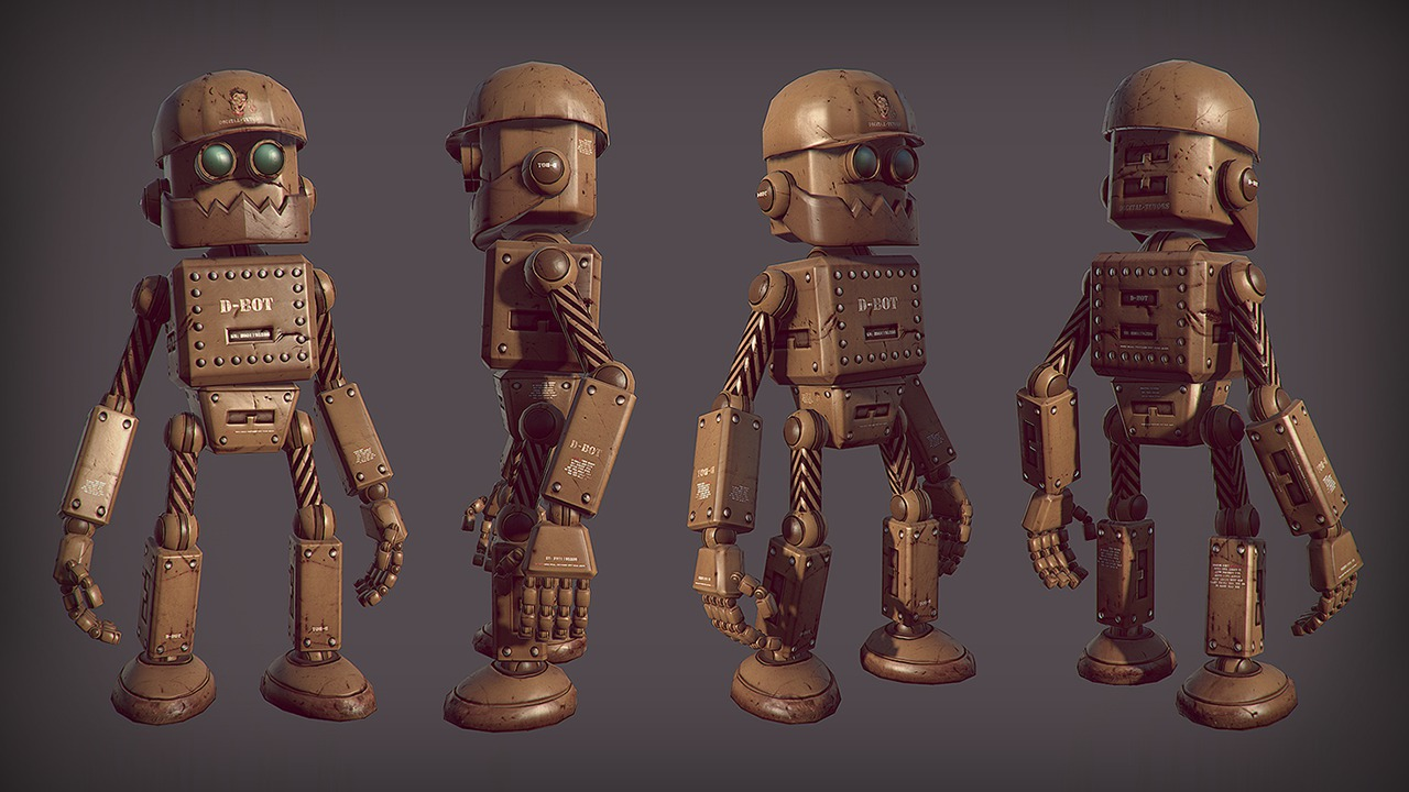 3d Character Design Course : Creating and rigging a low poly robot in ds max
